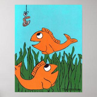 Poster de la pesca del Goldfish, decoración de los