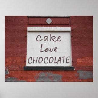 Poster de la pintada 24x18 del chocolate del amor
