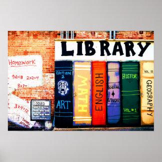 Poster de la pintada de la pared de la biblioteca póster