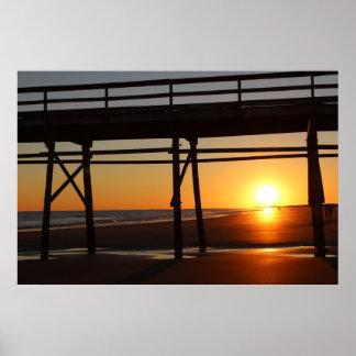 Poster de la playa de la puesta del sol póster