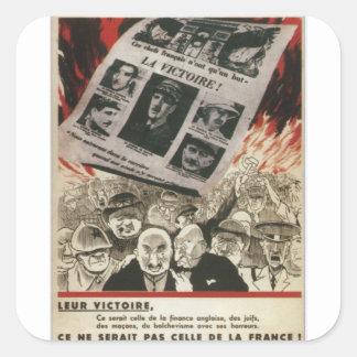 poster de la propaganda de la victoria pegatina cuadrada