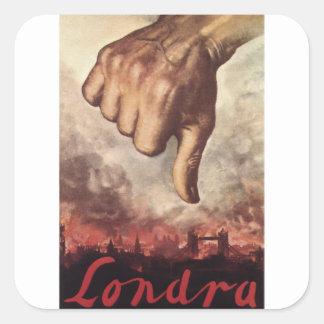 Poster de la propaganda de Londres Pegatina Cuadrada
