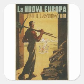 poster de la propaganda de los trabajadores pegatina cuadrada