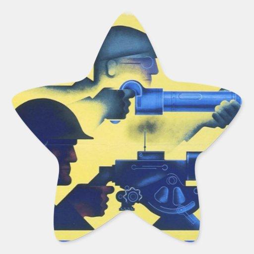 Poster de la propaganda del tiempo de guerra WW2 Calcomania Forma De Estrella Personalizada