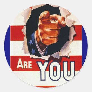 Poster de la propaganda del tiempo de guerra WW2 Pegatinas Redondas