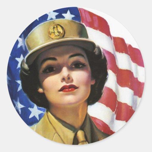 Poster de la propaganda del tiempo de guerra WW2 Etiqueta