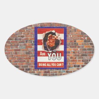 Poster de la propaganda del tiempo de guerra WW2 Calcomania De Oval Personalizadas