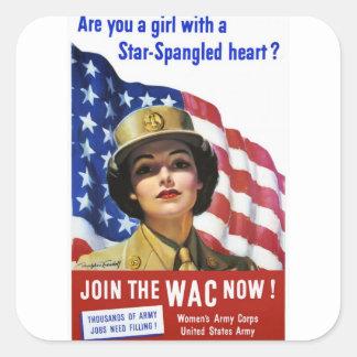 Poster de la propaganda del tiempo de guerra WW2 Pegatina Cuadrada