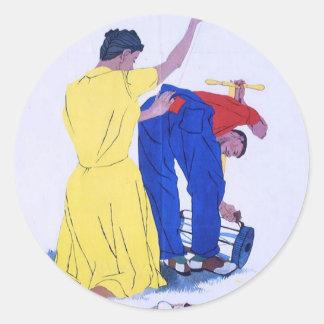 Poster de la propaganda del tiempo de guerra WW2 Etiquetas Redondas