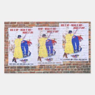 Poster de la propaganda del tiempo de guerra WW2 Rectangular Pegatina