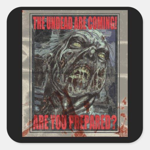 Poster de la propaganda del zombi pegatinas cuadradas