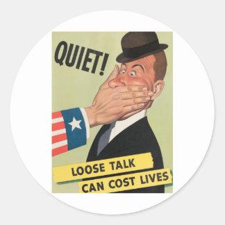 Poster de la propaganda WW2 Pegatina Redonda