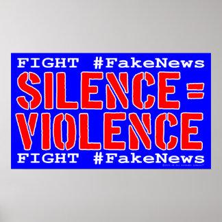 Poster de la protesta de los #FakeNews de la lucha Póster