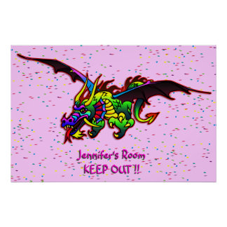 Poster de la puerta del dormitorio del dragón de póster
