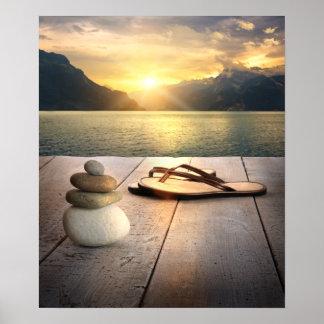 Poster de la puesta del sol del zen póster