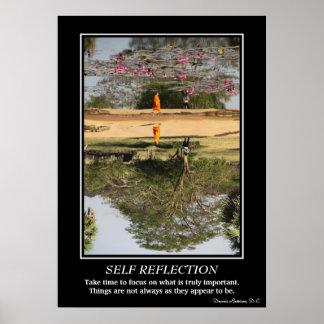 Poster de la reflexión del uno mismo - monje en póster