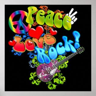 Poster de la roca del amor de la paz póster