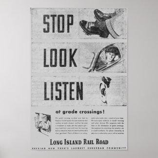 Poster de la seguridad del ferrocarril de Long Isl