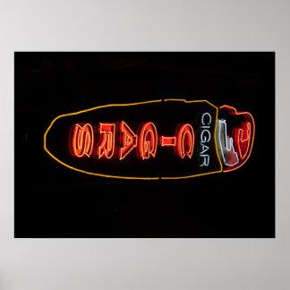 Poster de la señal de neón de la tienda de cigarro