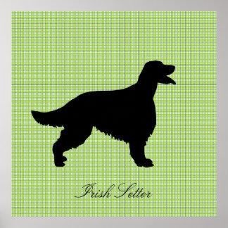 Poster de la silueta del negro del perro de Irish