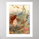 Poster de la sirena de Nouveau del arte/impresión