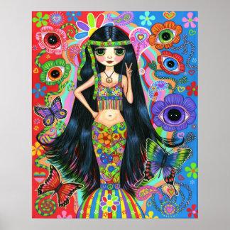 Poster de la sirena del chica del Hippie