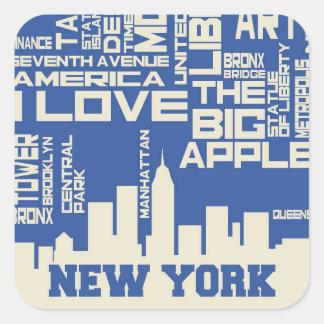 Poster de la tipografía de New York City Pegatina Cuadrada