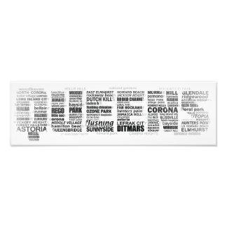 Poster de la tipografía del Queens Nueva York Impresión Fotográfica