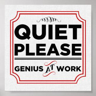 Póster De la tranquilidad genio por favor en el trabajo