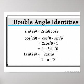 Poster de la trigonometría: Identidades dobles del Póster
