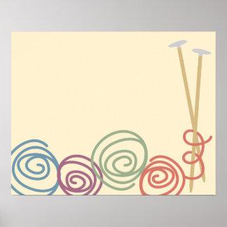 Poster de las agujas que hacen punto del hilado