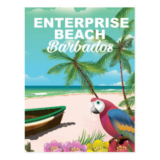 Poster de las vacaciones de Barbados de la playa Postal