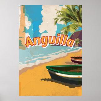 Poster de las vacaciones del vintage de Anguila Póster
