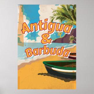 Poster de las vacaciones del vintage de Antigua y Póster