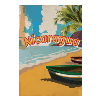 Poster de las vacaciones del vintage de Nicaragua Póster