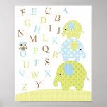 Poster de los alfabetos del búho de los elefantes