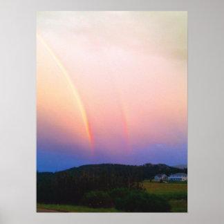 Poster de los arco iris y de las montañas de póster