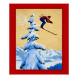 Poster de los deportes de invierno del vintage