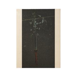Póster De Madera Arte A de la pared de la espada del samurai