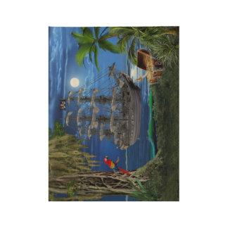 Póster De Madera Barco pirata iluminado por la luna místico