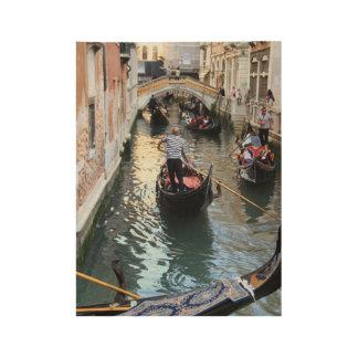 Póster De Madera Canal y góndola de Venecia