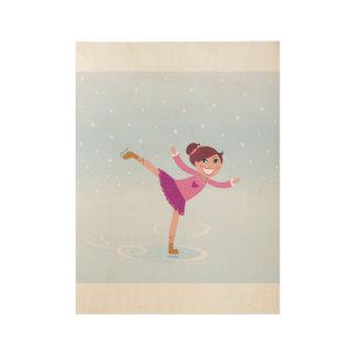 Poster de madera con el chica del patinaje de