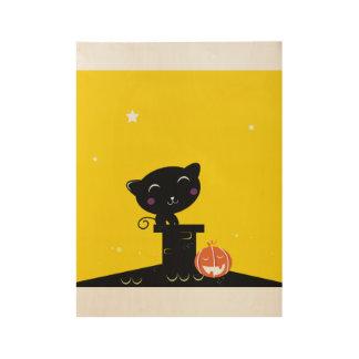 Poster de madera con el gato negro póster de madera