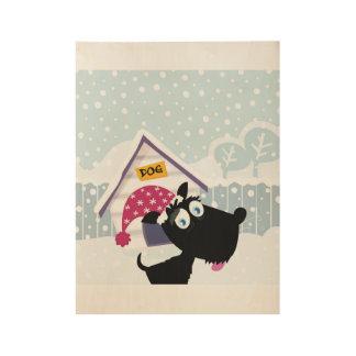 Poster de madera con el perrito negro