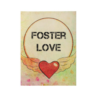 Póster De Madera Corazón adoptivo de la acuarela del amor