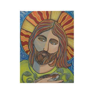 Poster de madera de Jesús y del gorrión Póster De Madera