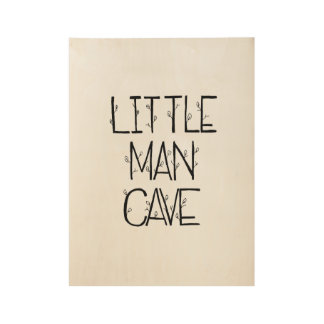 Poster de madera de la pequeña cueva del hombre