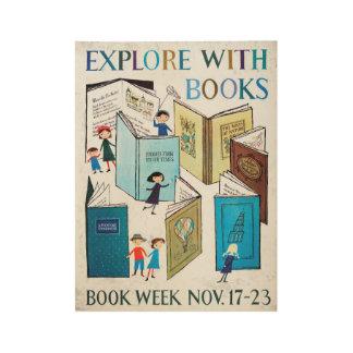 Poster de madera de la semana del libro de 1957