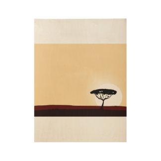 Poster de madera dibujado mano con el árbol negro póster de madera