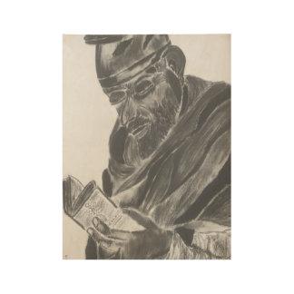 Póster De Madera Dibujo de carbón de leña del sacerdote